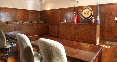 photo of Womac Law Firm's mock courtroom